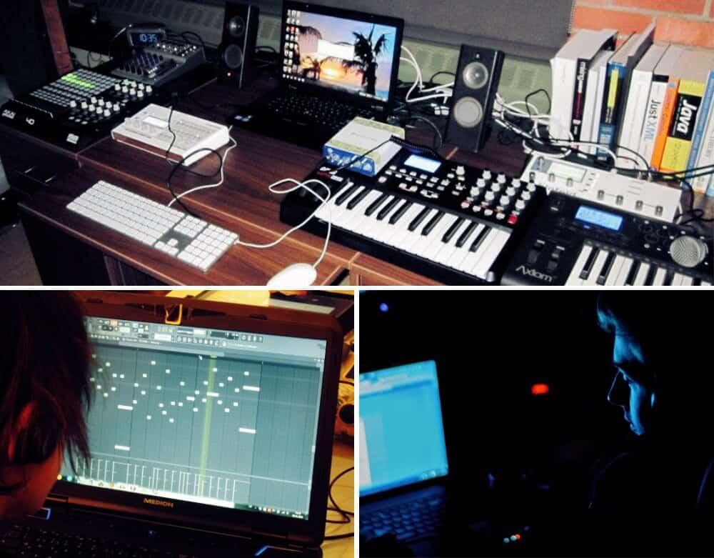 Productores musicuales traabajando